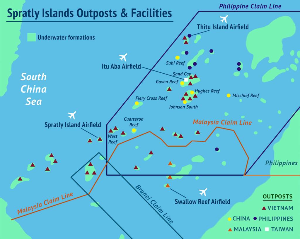 Übersicht überdie verschiedenen Besitzansprüche auf die Spratly-Inseln Quelle: http://amti.csis.org/island-tracker/