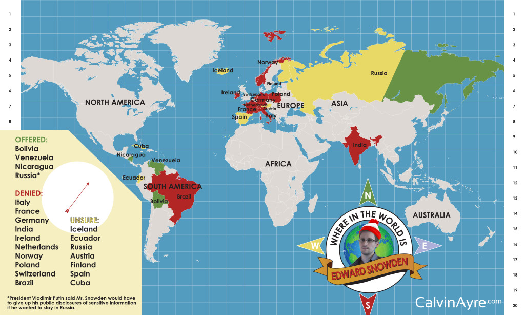 Nur drei Länder wollten Snowden Asyl gewähren. Russland wollte nur unter Bediungen auf das Gesuch eingehen. Quelle: calvinayreap.com